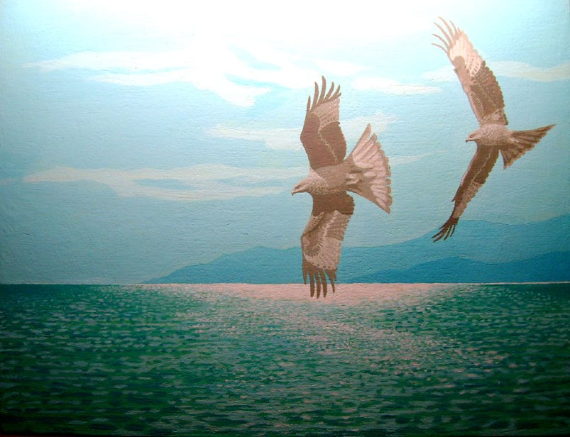 Painting of eagles over the sea